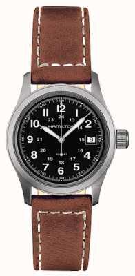 Hamilton Para hombre de campo de color caqui del cuarzo del dial negro correa de color marrón H68311533