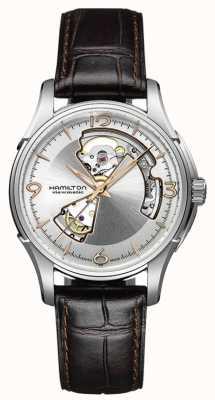 Hamilton Mens jazzmaster corazón abierto correa de cuero marrón esfera de plata H32565555