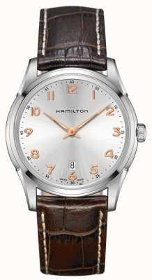 Hamilton Mens jazzmaster thinline de cuero marrón reloj de plata de la correa H38511513