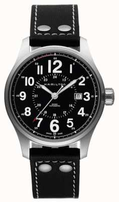 Hamilton Mens oficial de color caqui esfera de color negro correa de cuero negro automático H70615733