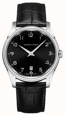 Hamilton Mens jazzmaster thinline esfera de color negro correa de cuero negro H38511733