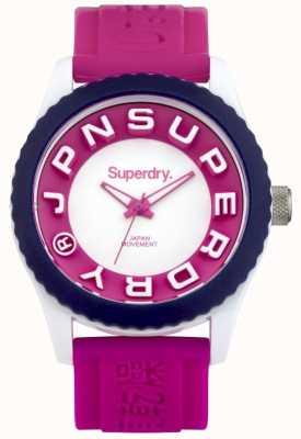 Superdry correa de caucho de color rosa para mujer de Tokio SYL146PW