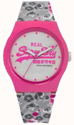 Superdry Para mujer de color rosa floral urbana y esfera blanca correa de caucho gris SYL169EP