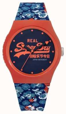 Superdry Mujer azul urbano floral y correa de goma naranja azul dial SYL169UCO