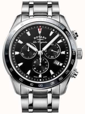 Rotary esfera de color negro de acero inoxidable Relojes de legado GB90169/04