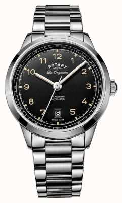 Rotary tradición para hombre esfera de color negro pulsera automático de acero inoxidable GB90184/19