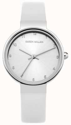 Karen Millen Correa de cuero blanco para mujer con esfera plateada KM131W