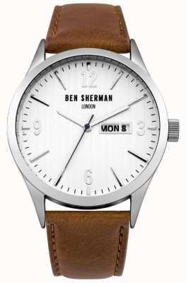 Ben Sherman Para hombre esfera blanca correa de cuero marrón WB053T