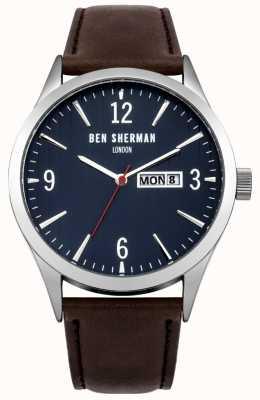 Ben Sherman Mens esfera azul correa de cuero marrón WB053BR