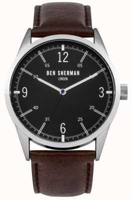 Ben Sherman Mens esfera de color negro correa de piel marrón WB051BR