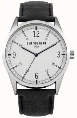Ben Sherman Para hombre esfera blanca correa de cuero negro WB051B