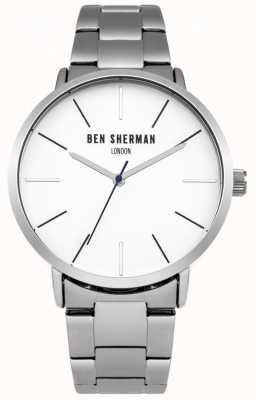 Ben Sherman Para hombre de línea blanca de acero inoxidable WB054SM