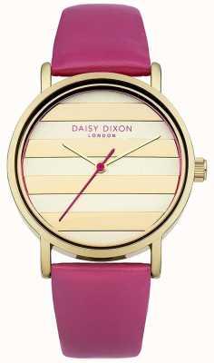Daisy Dixon Para mujer esfera de oro correa de cuero rosa amapola DD009PG
