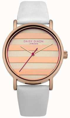 Daisy Dixon Mujeres de la amapola de la correa de cuero rosa blanca esfera de oro DD009WRG