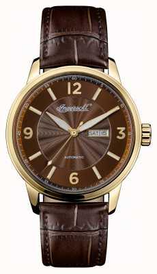 Ingersoll Hombres 1892 la regente marrón correa de cuero marrón dial I00201