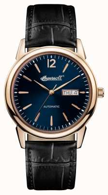 Ingersoll Mens 1892 the new haven correa de cuero negro esfera azul I00504