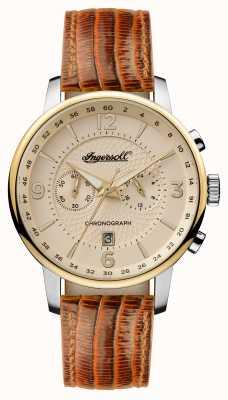 Ingersoll Mens 1892 la correa de cuero marrón grafton crema dial I00603