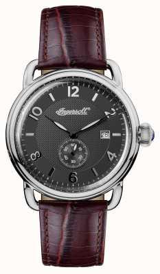 Ingersoll Mens 1892 la nueva correa de cuero marrón de Inglaterra marrón gris I00801