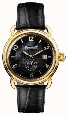 Ingersoll Mens 1892 la nueva correa de cuero negro de Inglaterra dial negro I00802