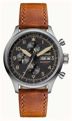 Ingersoll Descubre a los hombres la correa de cuero marrón bateman dial negro I01902