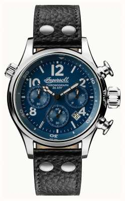 Ingersoll Descubre a hombre la correa de cuero negra armstrong del dial azul I02001
