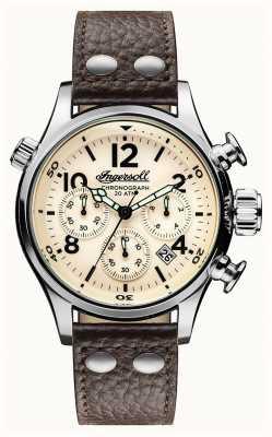Ingersoll Descubre a los hombres la correa de cuero marrón Armstrong crema dial I02002