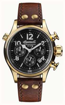 Ingersoll Descubre a hombre la correa de cuero marrón armstrong dial negro I02003