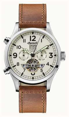 Ingersoll Descubre a hombre la correa de cuero marrón armstrong dial blanco I02101