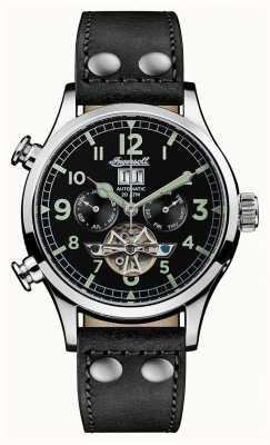 Ingersoll Descubre a los hombres la correa de cuero negro armstrong dial negro I02102