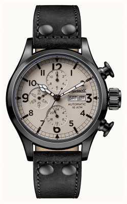 Ingersoll Descubre a los hombres la correa de cuero negro armstrong beige dial I02202