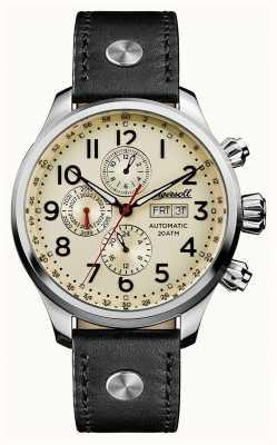 Ingersoll Descubre a los hombres la correa de cuero gris delta crema dial I02301