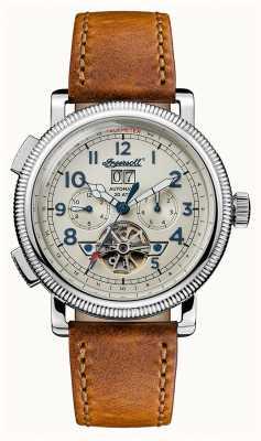 Ingersoll Descubre a los hombres la correa de cuero marrón de la pulsera dial beige I02601