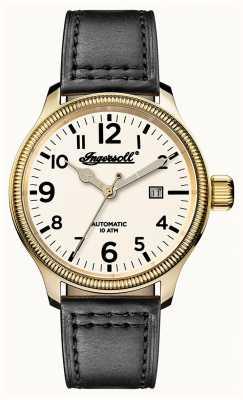 Ingersoll Descubre a los hombres la correa de cuero gris apsley blanco dial I02702