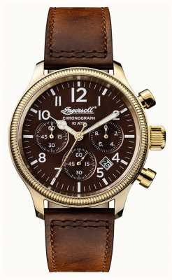Ingersoll Descubre a los hombres la apsley correa de cuero marrón marrón dial I03802
