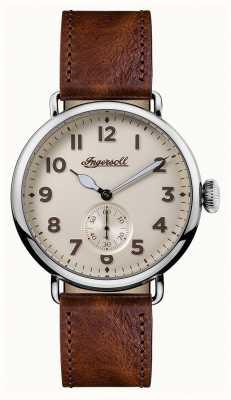 Ingersoll Mens crónica de la correa de cuero trenton marrón crema dial I03301