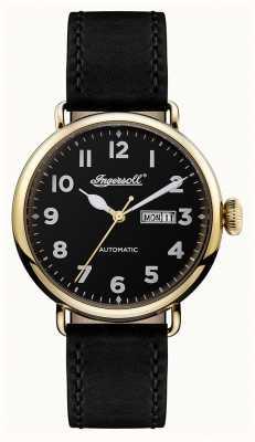 Ingersoll Mens crónica de la correa de cuero negro trenton dial negro I03401