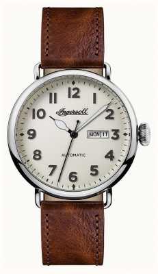 Ingersoll Mens crónica de la correa de cuero marrón trenton dial blanco I03402