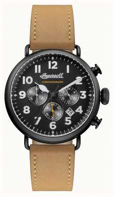 Ingersoll Mens crónica de la correa de cuero marrón trenton marcar negro I03502