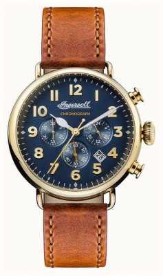 Ingersoll Mens crónica de la correa de cuero marrón trenton dial azul I03501