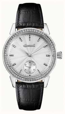 Ingersoll Crónica de las mujeres la gema de cuero negro correa de plata dial I03701