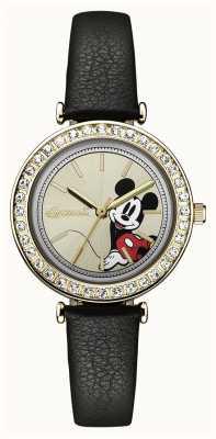 Disney By Ingersoll Unión de las mujeres disney correa de cuero negro esfera plateada ID00301