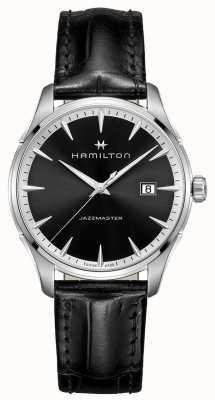 Hamilton jazzmaster para hombre del dial negro correa de cuero negro H32451731