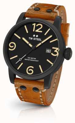 TW Steel Para hombre de línea sándwich Maverick negro de cuero marrón de 48 mm Correa MS32