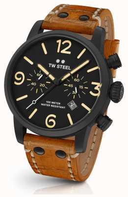 TW Steel Relojes de sándwich Maverick negro 45mm cuero marrón MS33
