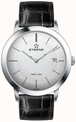 Eterna plata de cuarzo para hombre rozó el dial correa de cuero negro 2710.41.10.1383