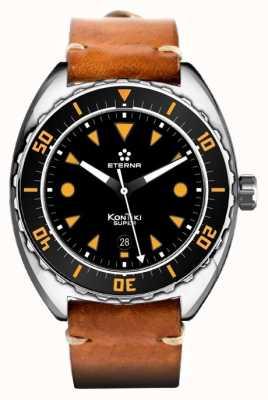 Eterna Mens dial negro correa de cuero marrón automático súper kontiki 1273.41.49.1363