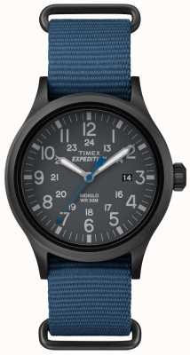 Timex Mens scout cinturón negro de tela azul TW4B04800
