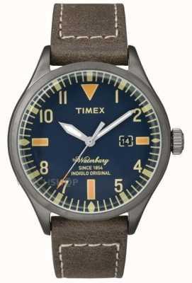 Timex Para hombre de Waterbury de cuero marrón de línea azul marino de la correa TW2P83800