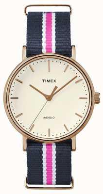 Timex de fin de semana Fairfax correa azul marino rosa Womans TW2P91500