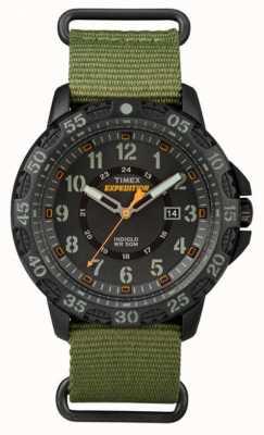 Timex Correa de tela verde gallatin de la tela del hombre dial negro TW4B03600